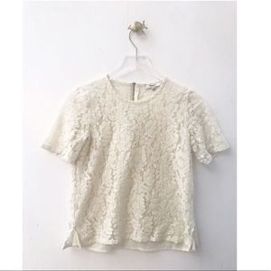 madewell / short sleeve ivory cream lace sheer top